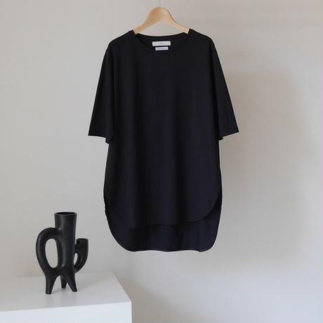 COTTON SILK JERSEY SMOOTH T-SHIRT/BLACK