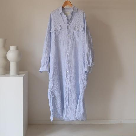 FRENCH LINEN FRAVOR WASH DEFORMED WIDE SHIRT  DRESS