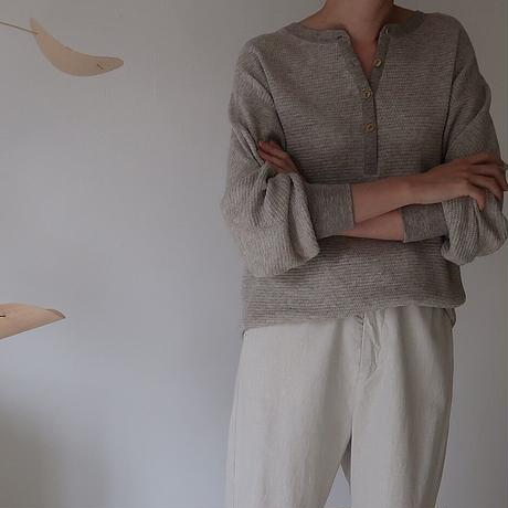 essential basic honeycomb reversible pullover/cotton yak wool