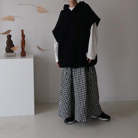 LINEN CANVAS WASH FLARE SKIRT/GINGHAM CHEK/受注商品