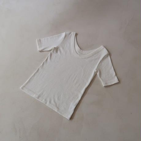 RANDOM RIB DRY-COTTON T SHIRT/WHITE