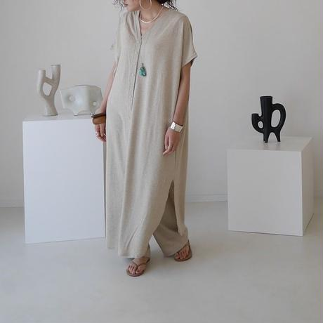 BELGIUM LINEN ROUGH JERSEY WIDE CAFTAN SET-UP/ECRU