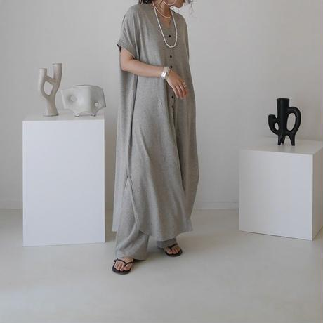 BELGIUM LINEN ROUGH JERSEY WIDE CAFTAN SET-UP/HeatherGray