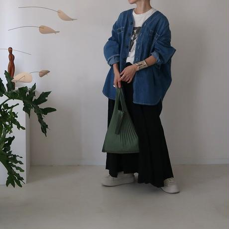 FRENCH  LINEN  WASHABLE FLARE-SKIRT/BLACK/受注商品