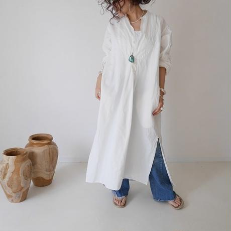 COTTON LINEN FRENCH VINTAGE EVENING LONG DRESS (WHITE)
