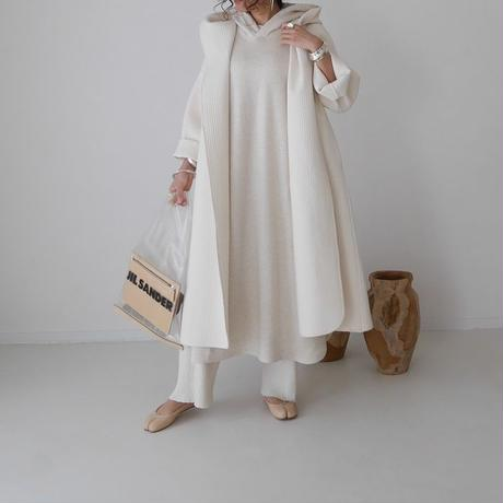 ■予約商品・3月中旬発送■LYOCELL-COTTON SOFT COASE-GRAINED FOODIE CAFTAN DRESS(ECRU)