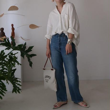 LINEN COTTON DENIM SHIRT PULLOVER/予約 7月上旬発送