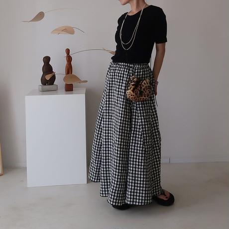 LINEN CANVAS WASH FLARE SKIRT/GINGHAM CHEK/受注商品
