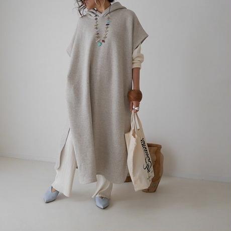 LYOCELL-COTTON SOFT COASE-GRAINED CAFTAN FOODIE DRESS(BAKE)