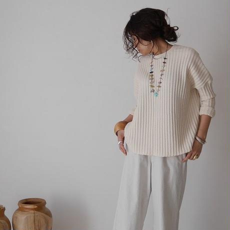 COTTON ROUGH  WAFFLE WIDE PULLOVER