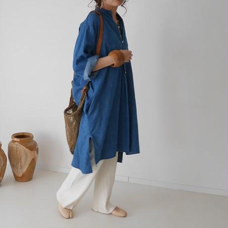 LINEN DENIM FRENCH VINTAGE EVENING DRESS(DENIM)
