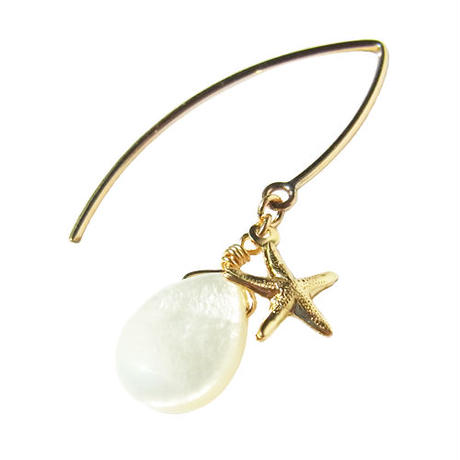 Starfish × Mother of Pearl Hook Pierce
