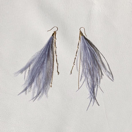 Smoky color Feather Pierce -Blue gray-