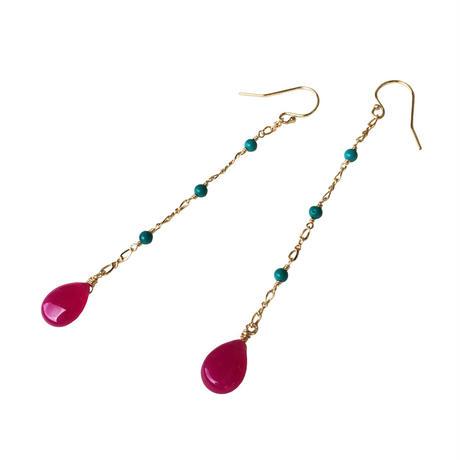 Turquoise × Pink Jade Swing Pierce