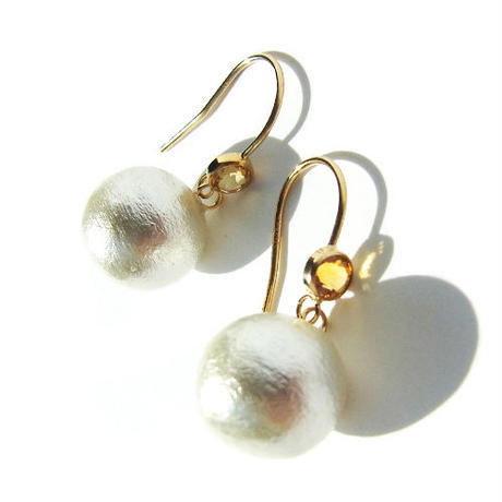 Frenchhook Cotton Pearl Pierce -Citrine-