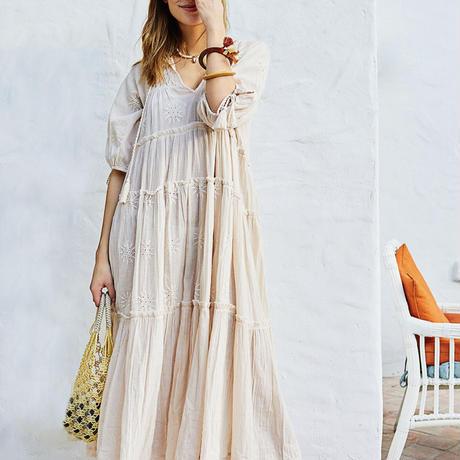 刺繍ティアードドレス