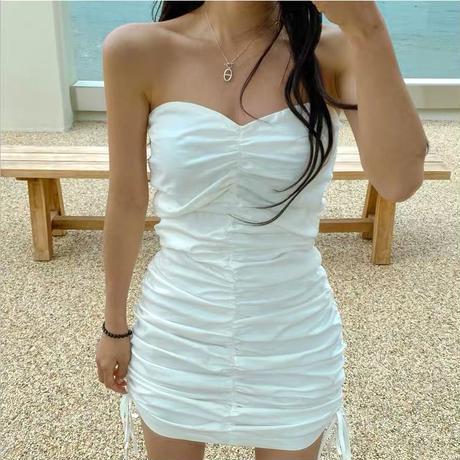 ギャザーチューブトップドレス