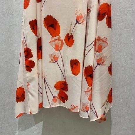 【B7/ベーセッツ】サイドドレープ花柄フレアスカート