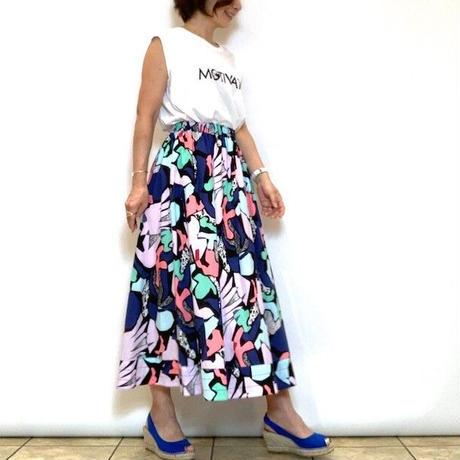 【Priority/プライオリティ】マルチカラープリントギャザースカート