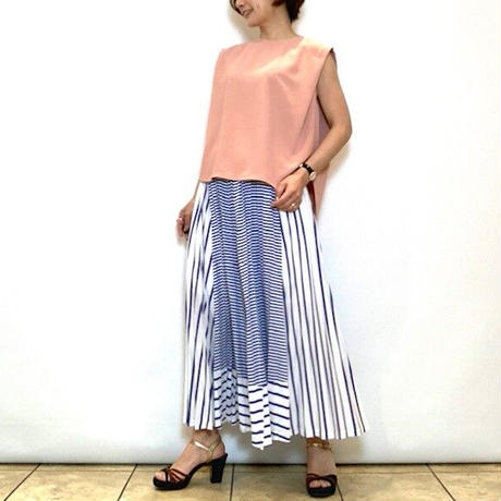 【ATELIER SIX/アトリエシックス】ストライプ切り替えプリーツスカート