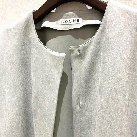 【Coomb/クーム】スエード調ノーカラーコート