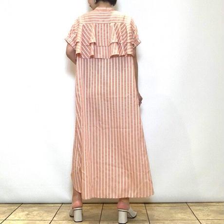 【HERENCIA/ヘレンチア】バックフリルストライプシャツワンピース