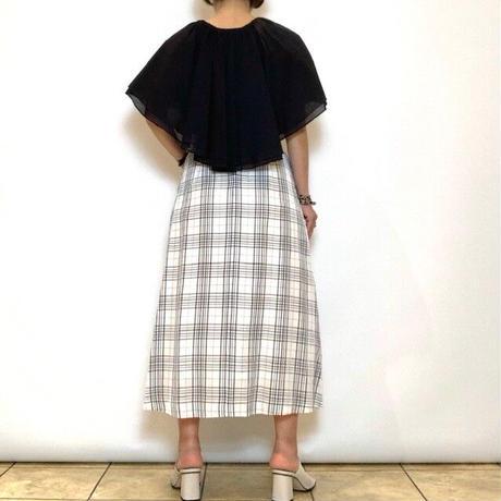 【FIGNO/フィグノ】麻混チェックフレアスカート
