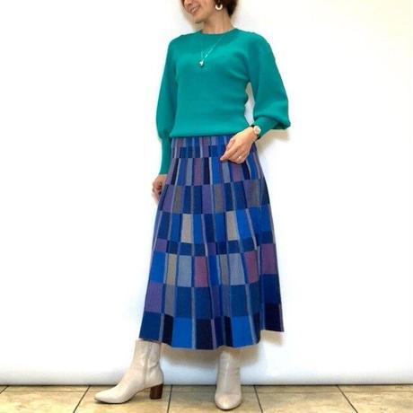 【ATELIER SIX/アトリエシックス】カラーブロックニットフレアスカート