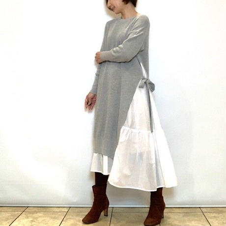 【BEATRICE/ベアトリス】異素材切り替えアシメワンピース