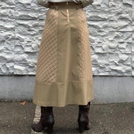 【PORTCROS/ポートクロス】キルトとチェックコンビのトレンチスカート