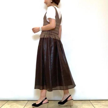 【Nouque/ヌーク】レザーライクサテンギャザースカート