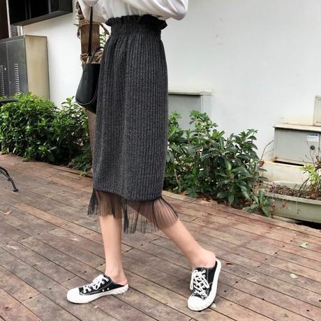 lace rib knit skirt