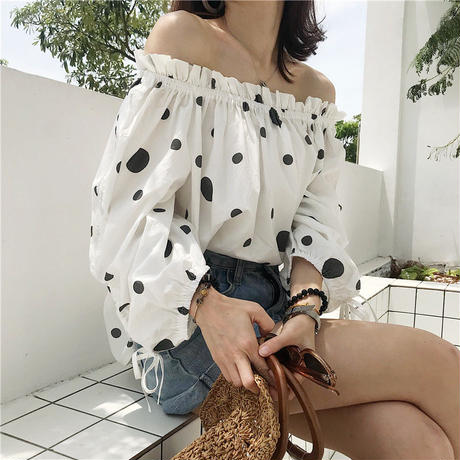 dot off-shoulder blouse