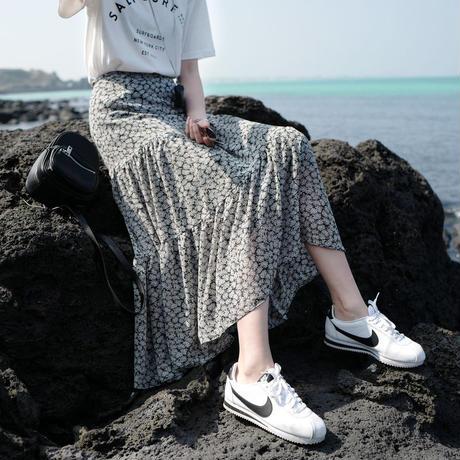 【再入荷】floral chiffon skirt