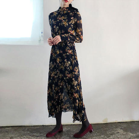 retro flower long dress