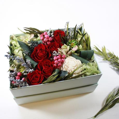 母の日期間限定[Flower Box Ⅿsize]RED/プリザーブドフラワー