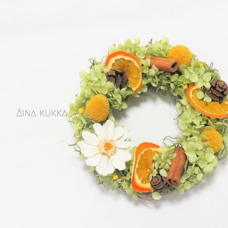 [フラワーリース]オレンジとジニアの紫陽花リース/プリザーブドフラワー/Sサイズ