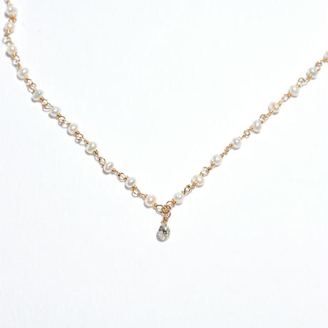 Fresh Water Pearl × Laser Hole Diamond Necklace★ONE