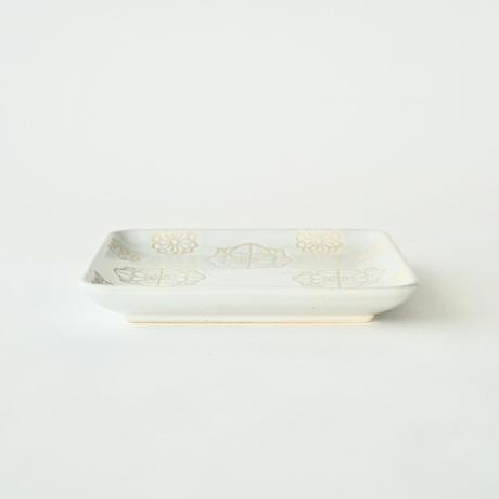 ステッチ 正角皿 ホワイト
