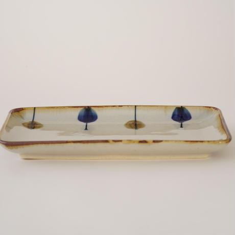 藍ブルー 長角皿 一珍水玉