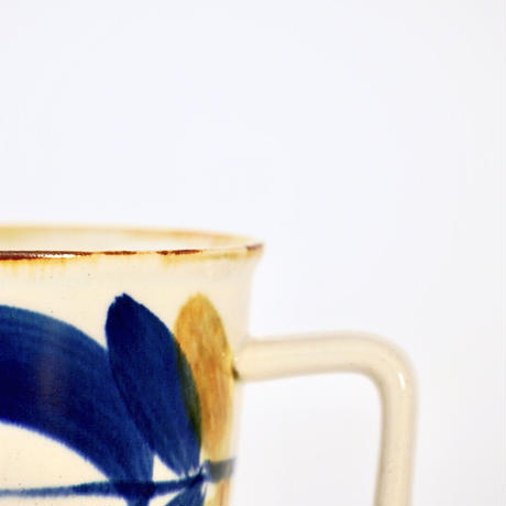 藍ブルー マグカップ 草花紋