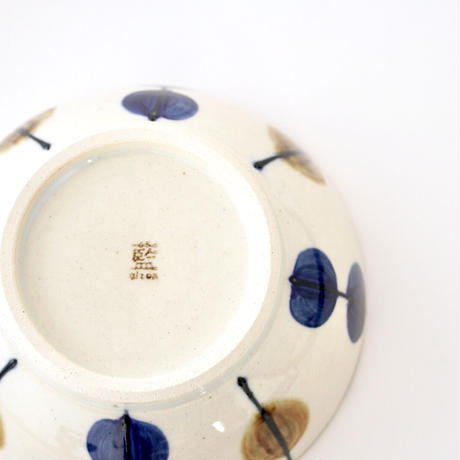 藍ブルー 平鉢 一珍水玉紋