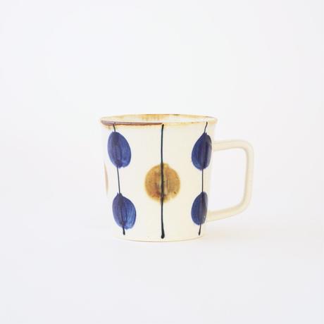 藍ブルー マグカップ 一珍水玉紋