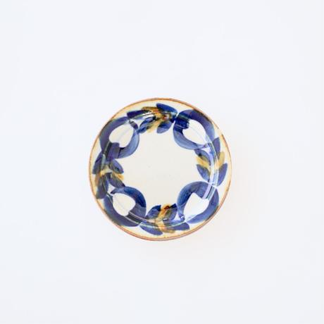 藍ブルー 11cmプレート 草花紋