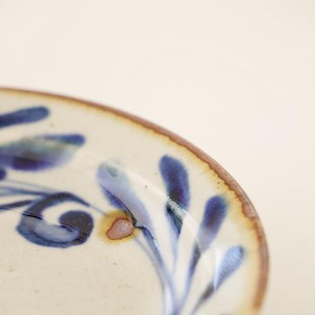 藍ブルー 11cmプレート 唐草紋