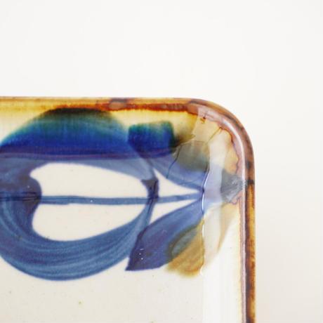 藍ブルー 長角皿 草花紋