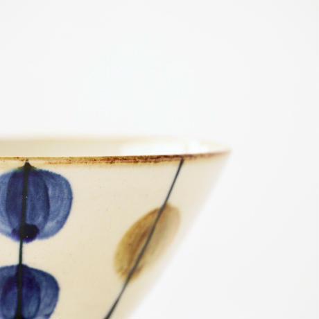 藍ブルー くらわんか碗 一珍水玉紋