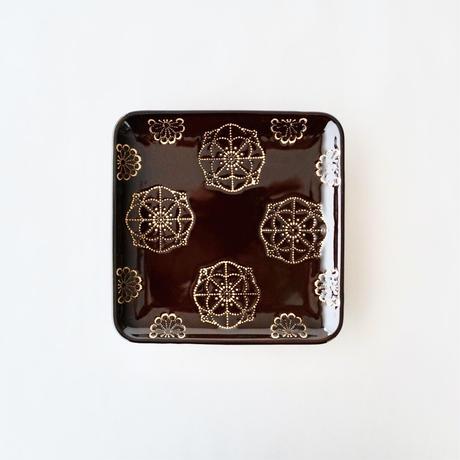 ステッチ 正角皿 ブラウン