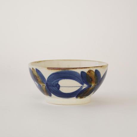 藍ブルー 小鉢 草花紋