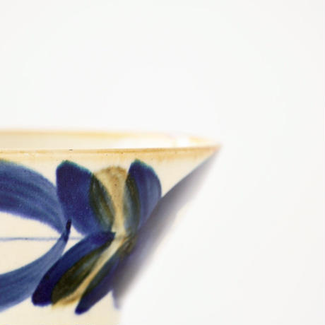藍ブルー くらわんか碗 草花紋